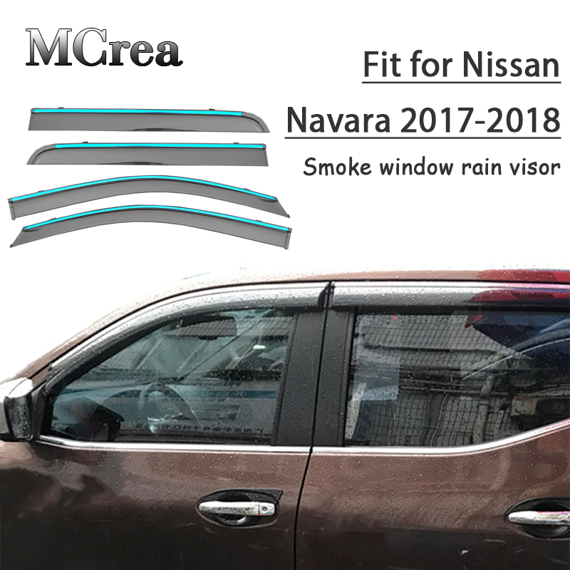 MCrea 4pcs Car Styling Smoke Window Sun Rain Visor Deflector Guard For Nissan Navara 2017 2018