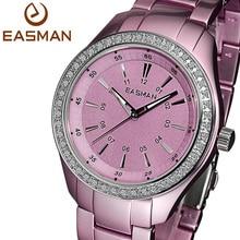 EASMAN часы женские2015 Розовый Фиолетовый Сверхлегкий Титан Алюминий кварцевые часы Циркон Gems водостойкой Наручные часы подарки  девушке