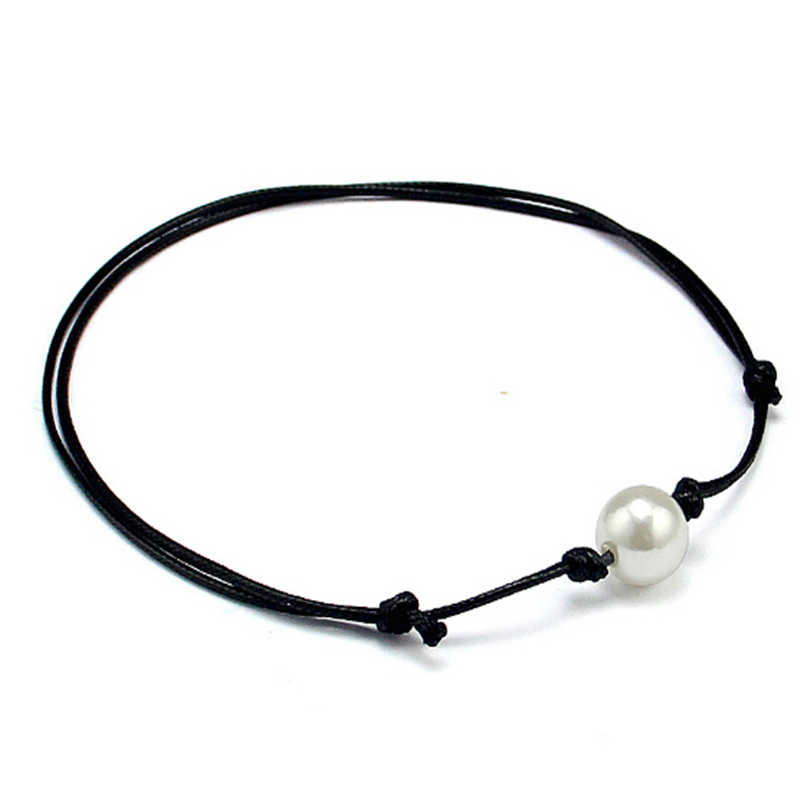 Fashion Pearl Jewelry Set Black Leather Rope Chain Chocker Collar Necklaces + Leather Wrap Bracelets & Bangles Women Jewelry Set