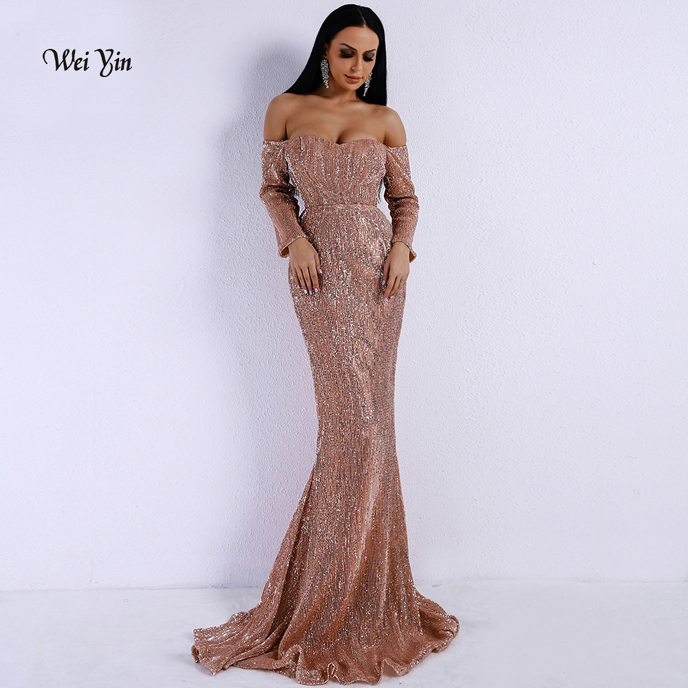 74eeb411e6501 Saudi Arabic Gold Sequins Mermaid Evening Dress Long Sleeves Off Shoulder  Elegant Women Formal Dress Party Prom Dresses 2019