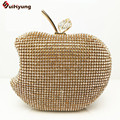 2016 New Women Shiny Czech Stones Clutch Luxury Sided Full Diamond Apple Evening Bag Wedding Party Handbag Purse Shoulder Bag