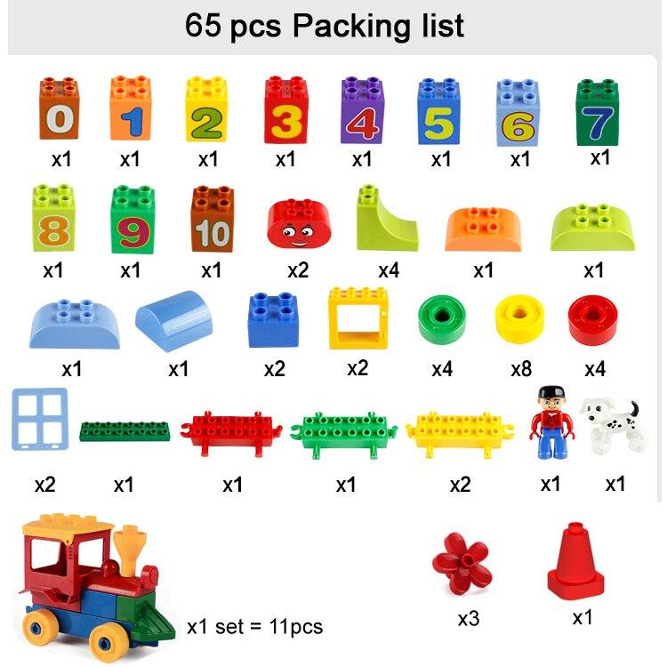 75/66 / 65PCS grands blocs de briques de mon premier numéro - Concepteurs et jouets de construction - Photo 6