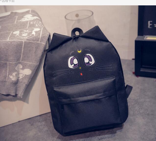 New Korean Style Feminine Luna Cat Ear Graffiti Backpack Japanese Sailor Moon School Bags For Teenagers College Leisure Bags Low Price Luggage & Bags Women's Bags