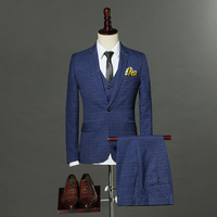 2018 High Quality Mens Fashion England Style Slim Fit Suits Male Three pieces Single Button Plaid Formal Set Blazer+Pant+Vest
