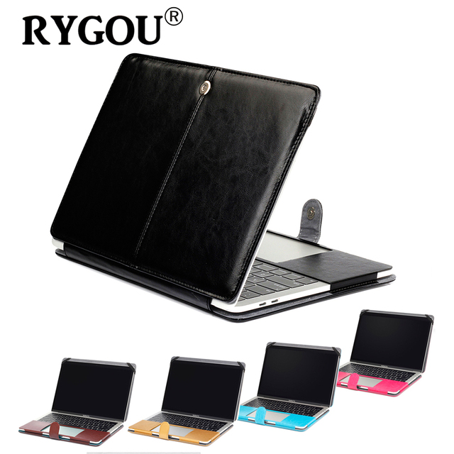 new styles 0342c ee9cd US $21.24 15% OFF|RYGOU For New Macbook Pro 13 15 inch 2016 2017 Leather  Case with or without Touch Bar Premium Leather Smart Holster Case -in  Laptop ...