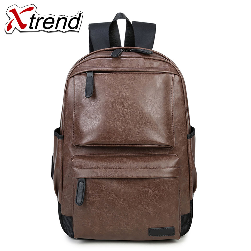 Xtrend 2018 Women Men PU Backpacks Large School Bags For Teenager Boys Girls Travel Laptop Backbag Mochila Rucksack Black Brown