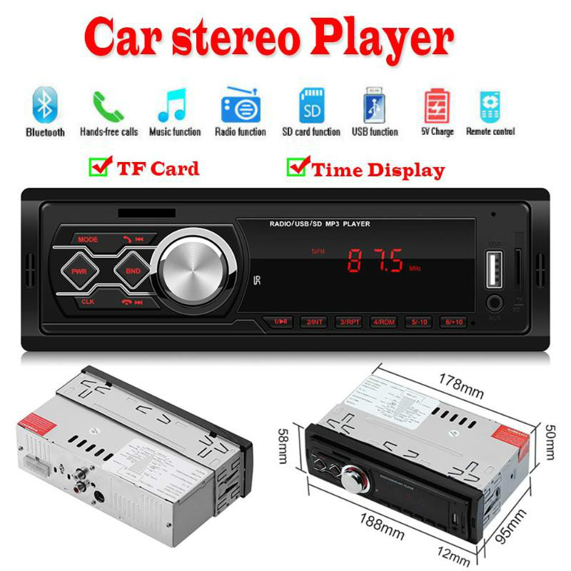 12V <font><b>1</b></font> <font><b>Din</b></font> In-Dash Universal <font><b>Car</b></font> Radio MP3 Player Stereo <font><b>Audio</b></font> Music FM USB AUX TF Card Multimedia image