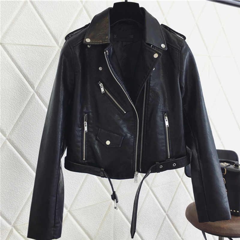 FTLZZ 패션 Pu 가죽 자켓 여성 밝은 색상 블랙 오토바이 코트 짧은 가짜 가죽 바이커 재킷 소프트 코트 여성