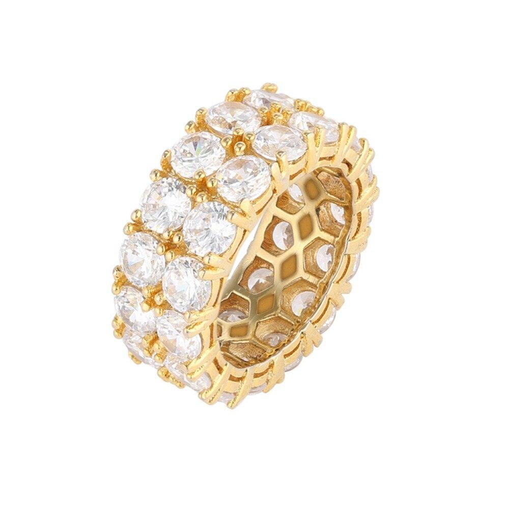 2018 Neue Stil Gold Silber Farbe Hohe Qualität 100% Cz Aaa Zirkon Männer Hiphop Ringe Mode Luxus Engagement Ring Hüfte Hop Schmuck