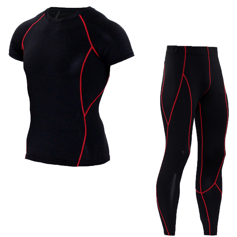Men Sports Suits Sets T shirt Tight Leggings Pants Compression Run jogging Suits Tracksuit Set Fitness Tights Short Sleeves T sh