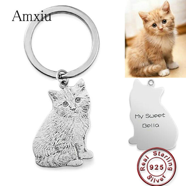 Amxiu Custom Pets Photo Key Chain Dog Cat Picture Pendant 925 Sterling Silver KeyChains Engraved Names Keychain For Men Jewelry