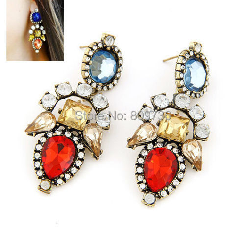 New Fashion Vintage Crystal Drop Earrings For Women Rhinestone Long Statement Costume Party Jewelry