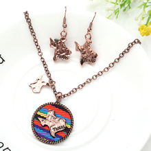 Necklace earring set Fabric cross pendant Men Women Antique Silver Plated Cross Necklace jewelry Gray African boho wholesale