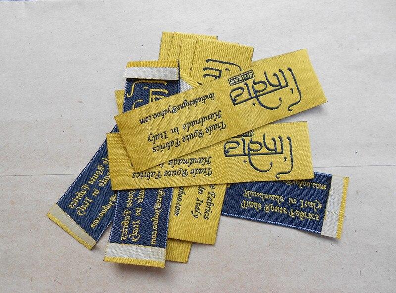 Livraison gratuite marque personnalisée étiquettes de vêtements logo privé tissé étiquette et étiquettes pour vêtement 1000 pcs/pack