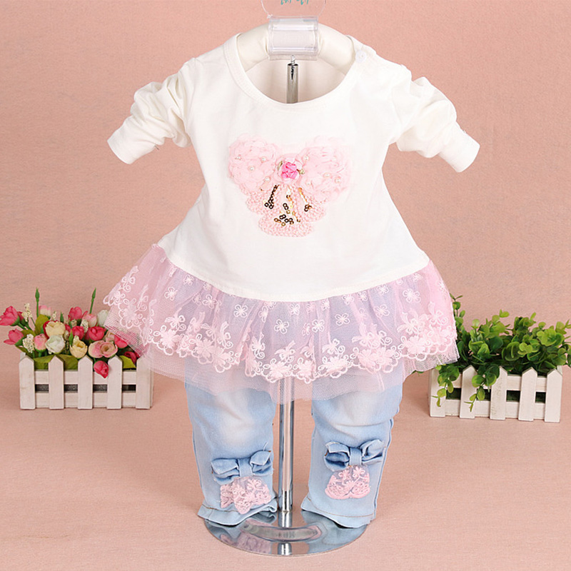 5a924fd998ea baby girl clothes new spring autumn baby suits newborn girls denim gauze  lace three piece set suit for infant baby girl outfit.-in Clothing Sets  from Mother ...