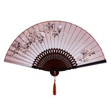 Hot Sale Fan Hand Fan Traditional Pocket Fan Butterfly Leaf Pattern Linen Fabric Bamboo - coffee цена в Москве и Питере
