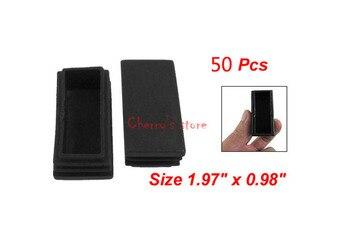 Mejor promoción precio al por mayor 50 piezas de plástico negro rectángulo tubo inserciones extremo tapa de blanqueamiento 25mm x 50mm
