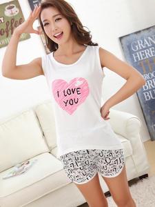 Pajamas Sleepwear Home-Clothes Two-Piece-Sleeves Women Shorts Silk Ladies Cute Cartoon
