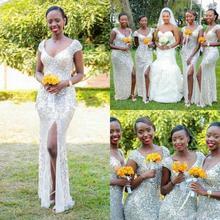 Silver Sequins Mermaid Bridesmaid Dresses V Neck Cap Sleeves High Split  Floor Length Zipper Back Long Wedding Guest Gowns BD163