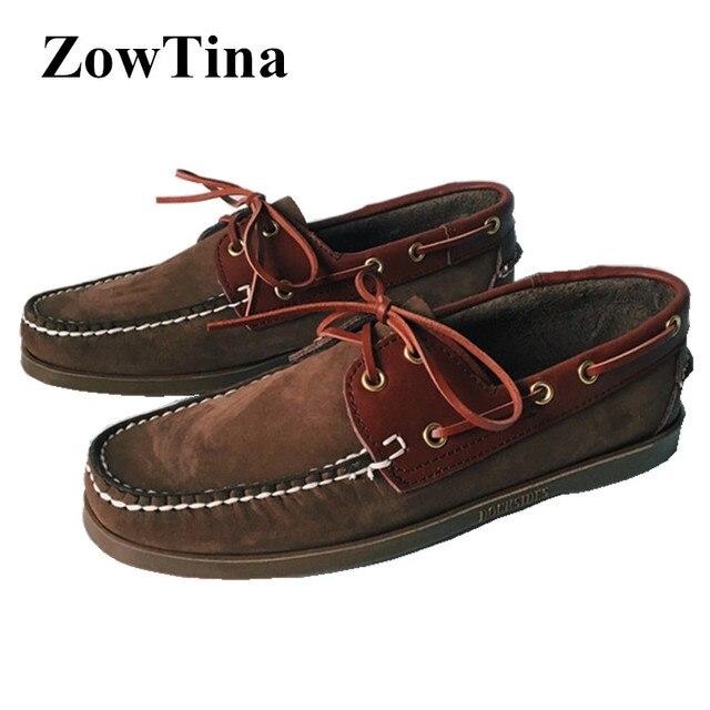f9d458cfa4d Real Photoes Mannen Casual Rijden Schoenen Flats Lederen Bootschoenen Man  Mode Loafers Chaussure Homme Grote Maat