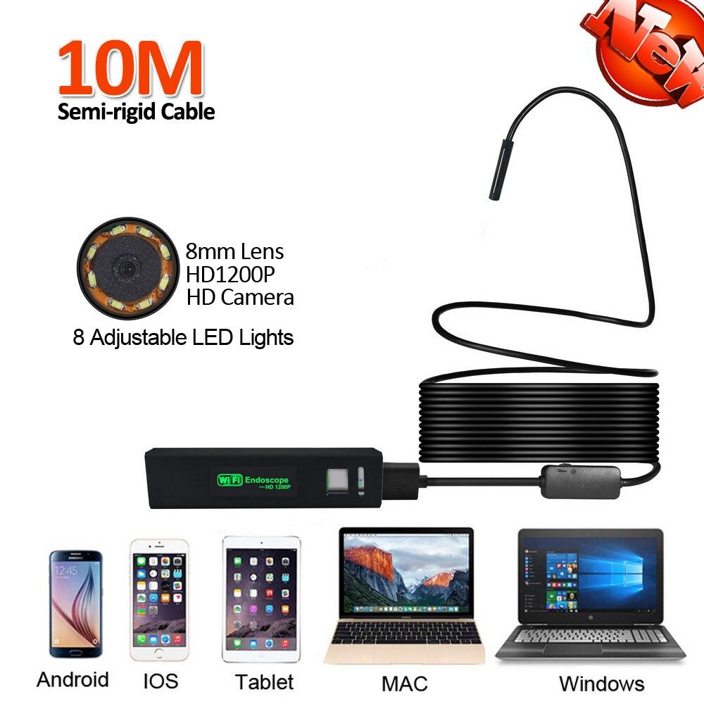 цена на 8mm Lens HD1200P 2MP Android Mobile iPhone WIFI Endoscope Camera 10M Snake Semi-rigid USB Endoscope Wilress Inspection Borescope