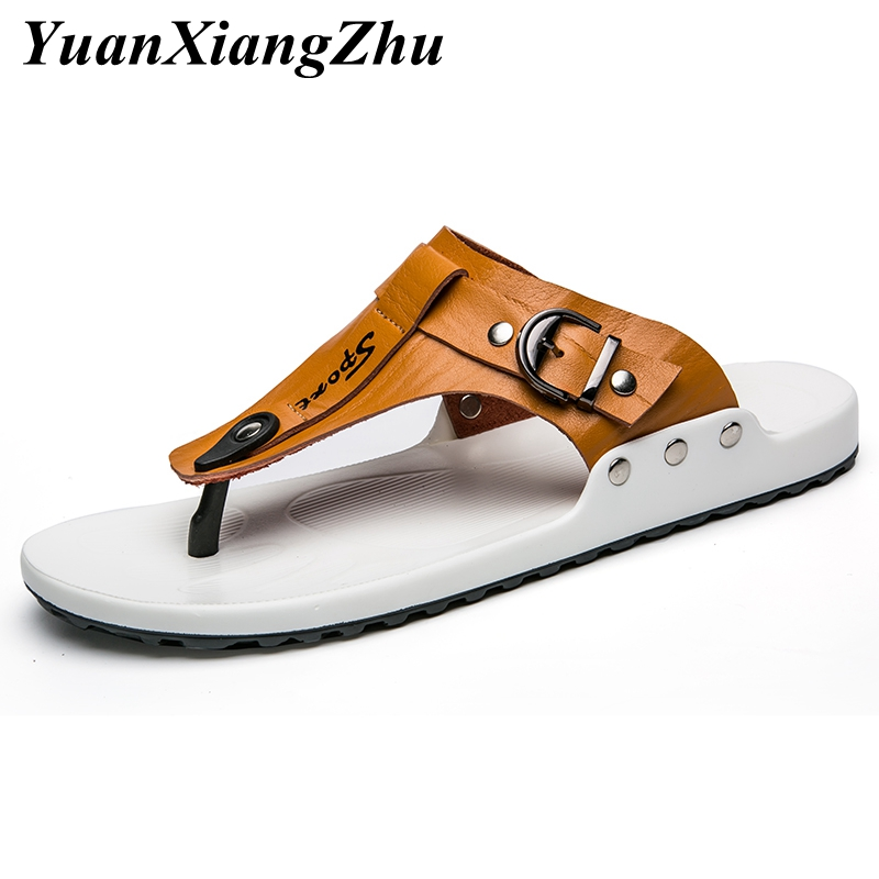2019 New Genuine Leather Slippers Men Beach Sandals Fashion Outside Flip Flops Shoes Man Slippers Sandals Comfortable Mens Flats