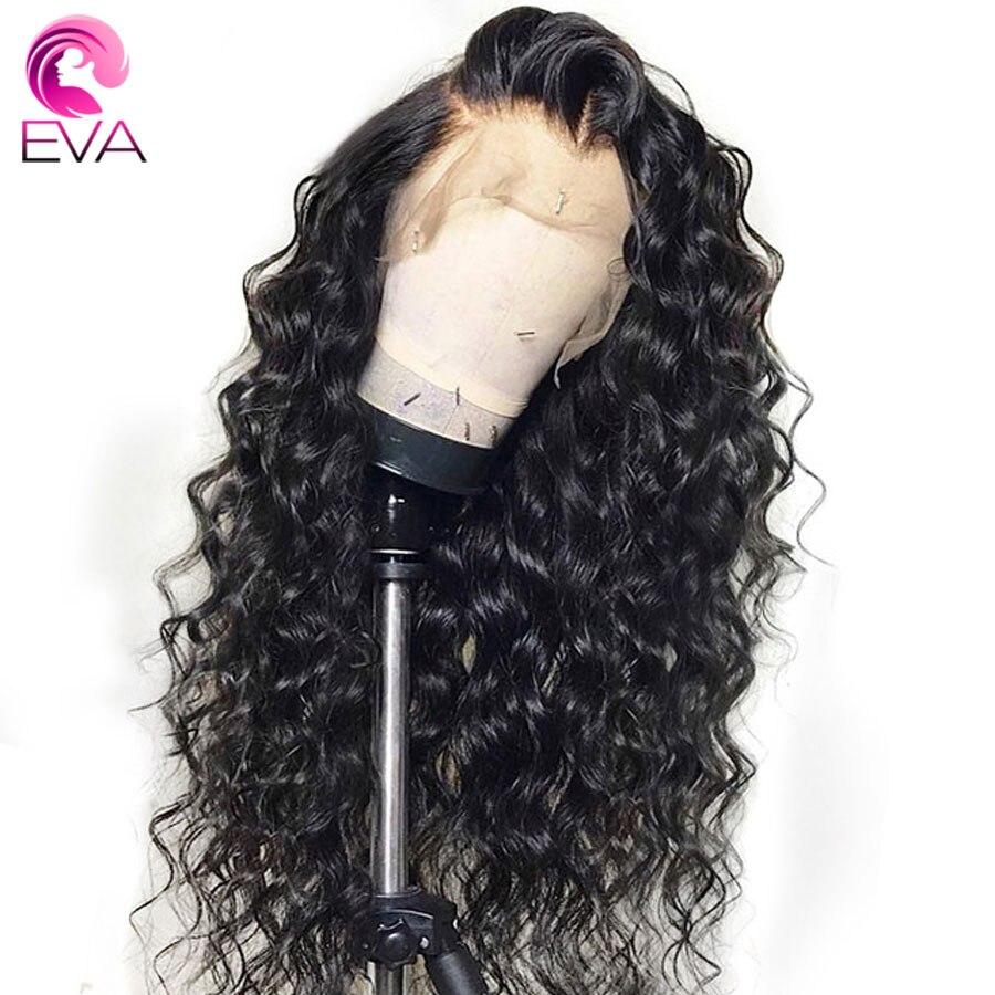 EVA Glueless koronki przodu włosów ludzkich peruk Pre oskubane z dzieckiem włosów brazylijski Remy włosy luźne kręcone koronki przodu peruki dla czarne kobiety w Peruki z ludzkich włosów na siatce od Przedłużanie włosów i peruki na AliExpress - 11.11_Double 11Singles' Day 1