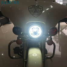 FADUIES 1 piece 7 inch 40W Round LED Headlight High Low Beam With White Halo For Harley Davidson Motorcycle led Headlamp