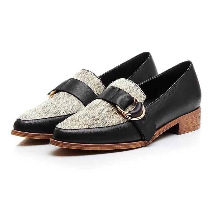 ФОТО 2017 New fashion mixed color low heel round toe genuine leather horsehair metal buckle handmade women slip on lazy cozy shoes 51