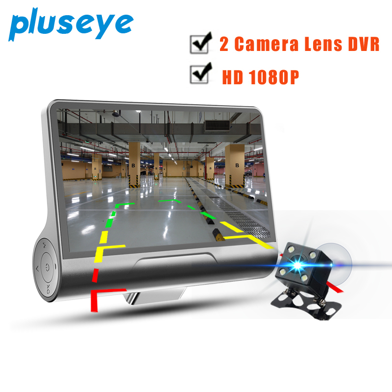 pluseye Car DVR 2 lens 4 inch IPS screen HD 1080P black box dash cam free shipping