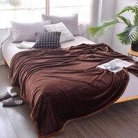 Dark Coffee Color Comfortable Soft Solid Color Blanket Bedding Thickening Blanket Polyester Fiber Bedding European Style Blanket
