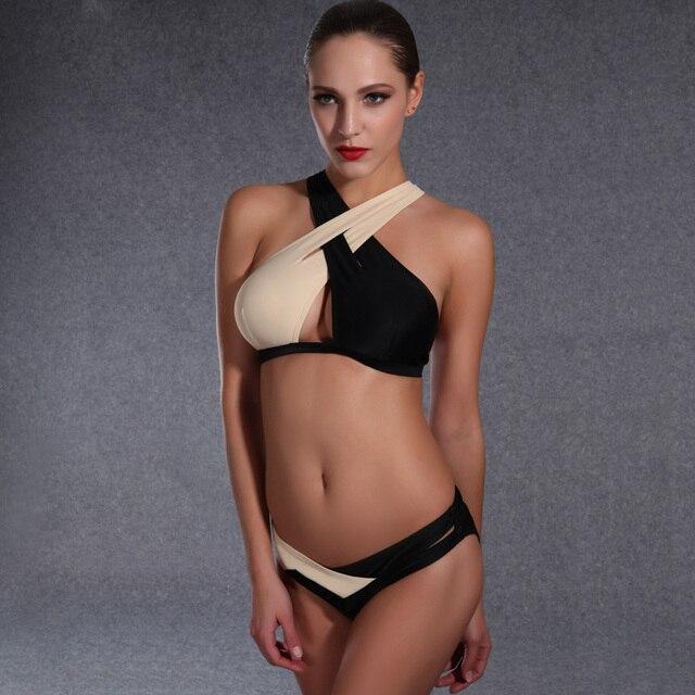 2017 Сексуальная молодая девушка бикини XL Biquinis с низкой талией купальник марка черно-белый купальник ретро купальник леди
