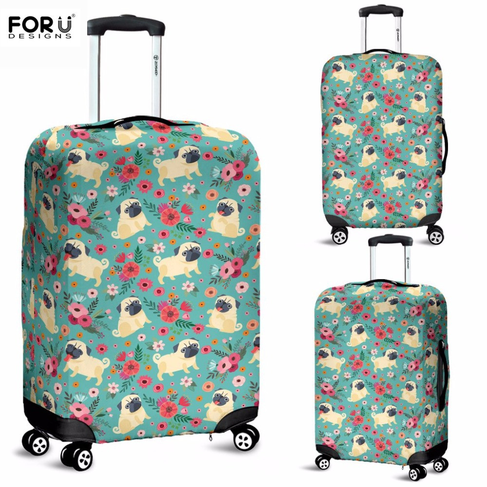 FORUDEISNGS Case Covers Pug Print Protective Covers For Suitcases Animal Travel Luggage Cover Suit Thick 18-30 Inch Storage Bag
