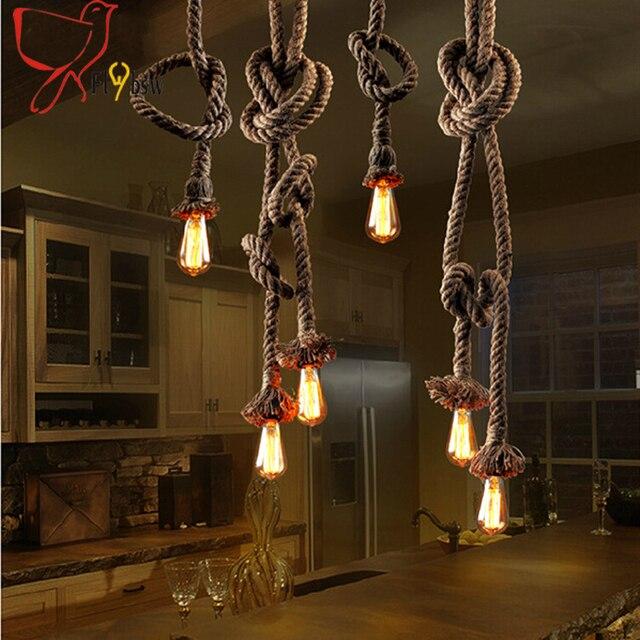Single Doppelkopfe Retro Seil Pendelleuchten Loft Vintage Lampe