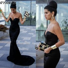 CYF54 HOT-sale Black Long Mermaid Prom Dresses 2016 Sweetheart Elastic Stain Formal Evening Party Dress For Women Pregnant Gown