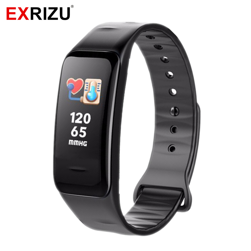 EXRIZU Bluetooth Smart Wristband Blood Pressure & Heart Rate Monitor Color Screen Fitness Bracelet Sleep Tracker Pedometer Band