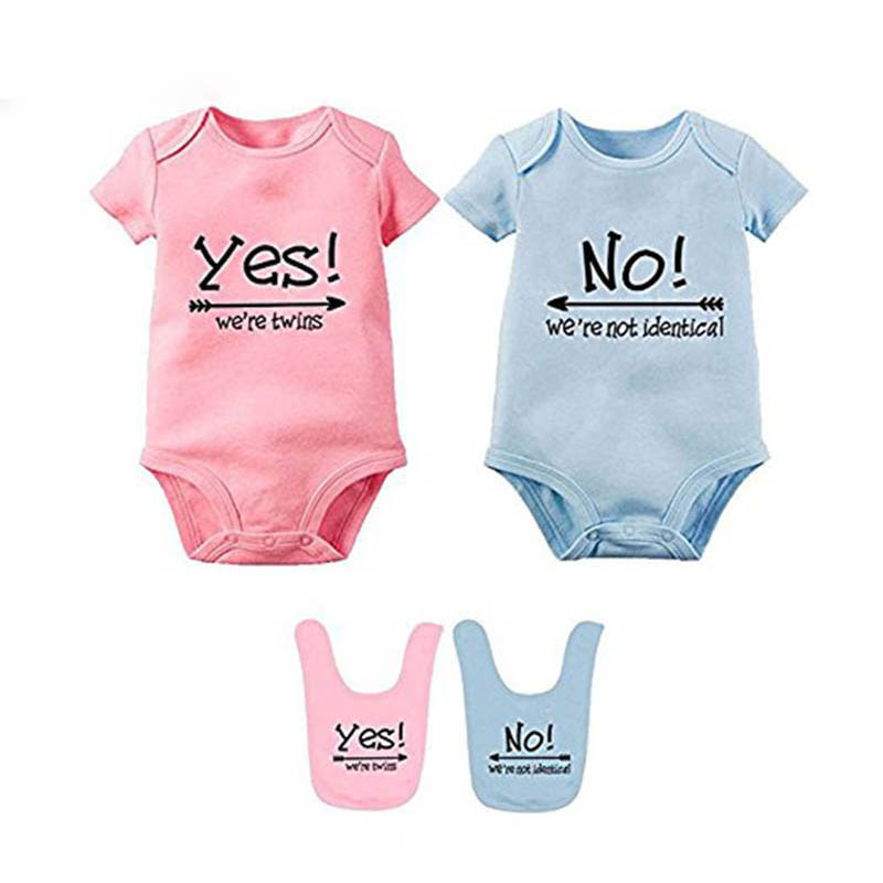 YSCULBUTOL Baby Bodysuits For Twin Boys Girls Twin Clothes Unisex Short Sleeve Yes We Are Twins No We Are Identical