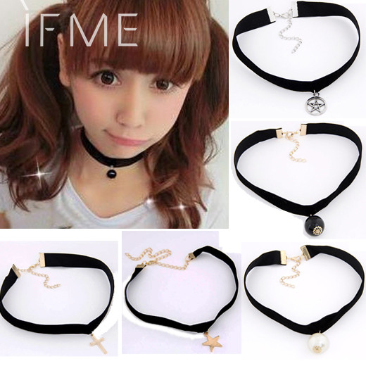 IF ME Goth Velvet Ribbon Imitation Pearl Star Cross Gothic Tattoo Choker Necklace Sailor Moon Cosplay Jewelry Women Accessories