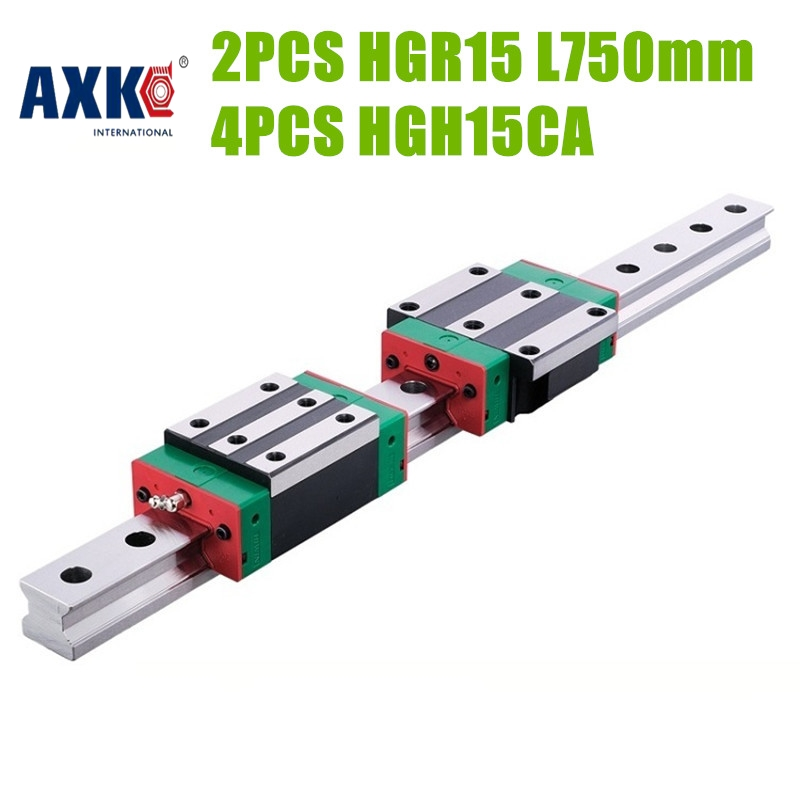 AXK HIWIN Taiwan made 2pcs HGR15 L 750mm 15mm linear guide rail with 4pcs HGH15CA narrow carriage sliding block cnc part 2pcs taiwan hiwin rail hgr20 400mm linear guide 4pcs hgh20ca carriage cnc parts made in mainland china