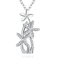 Enchanted Solid Flower Design Beautiful Plant Thin Chain Plating White Gold Pendant Necklace