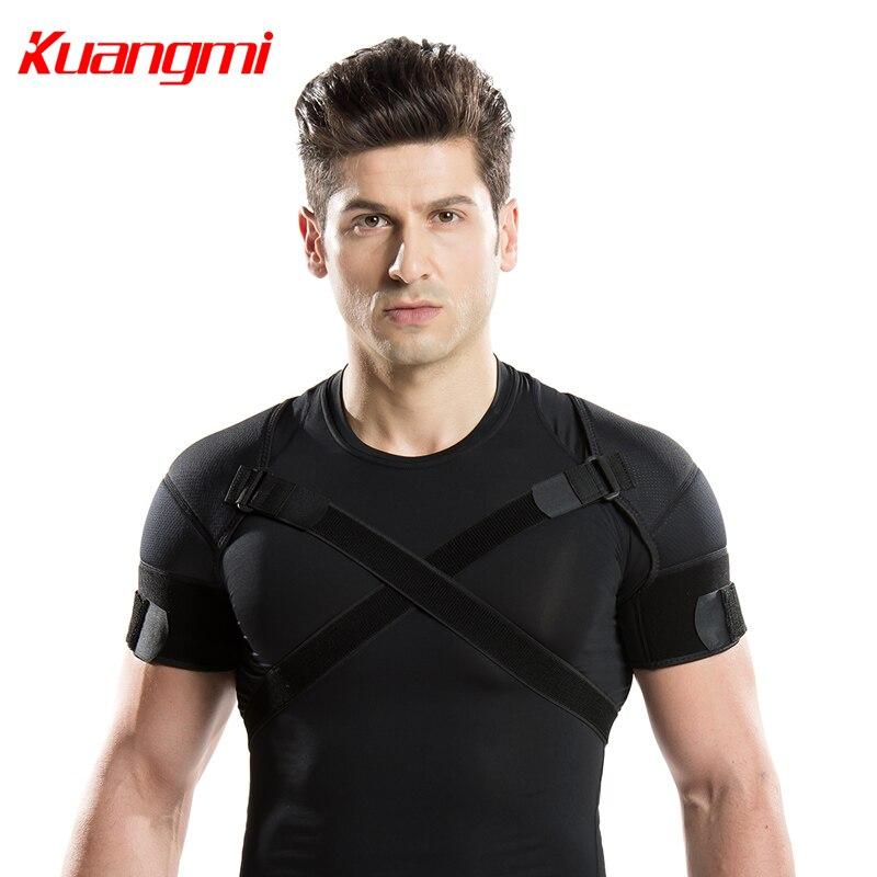 Kuangmi Double bandoulière soutien sangle réglable Bandage sport Double épaule attelle ceinture bande Pad dos soutien protecteur