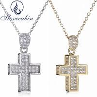 Slovecabin 2017 Russia Hot Sale 925 Sterling Silver Cross Pendant Necklace For Women Silver Cross Pendant