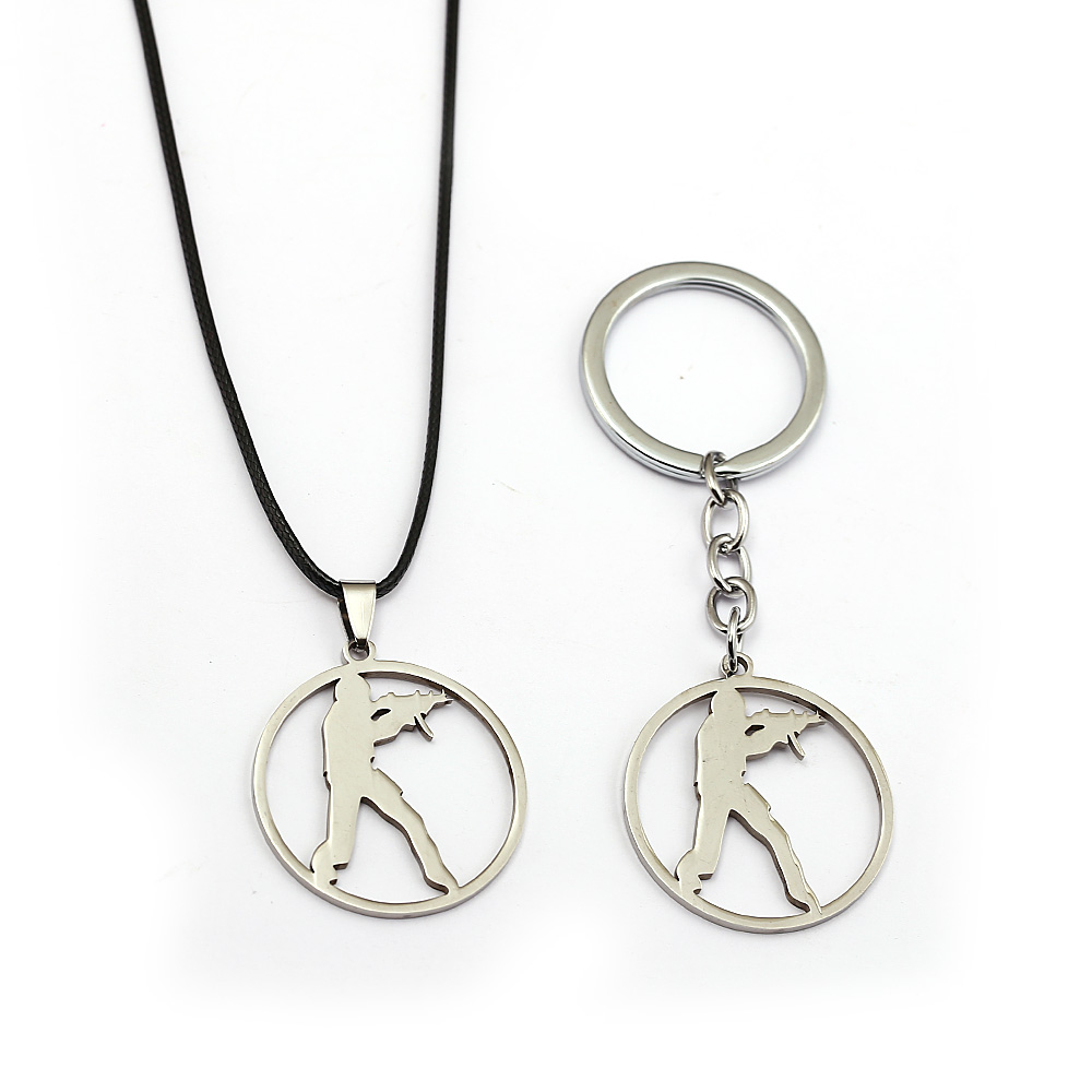 Game <font><b>CS</b></font> <font><b>Keychain</b></font> Round Pendants counter Strike Women Necklace Charm Gift Men Choker Keyrings Accessory image