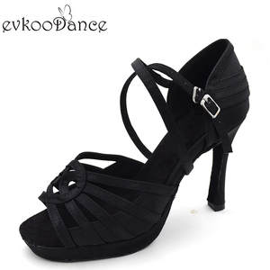 9326675f3488 Black Style Size US 4-12 10 cm High Heel with Platform Professional Open  Toe Satin Latin Dance Shoes For Women NL144