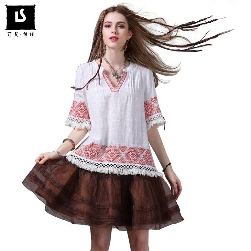 Cou National Broderie Conception Blouse V Femmes Coton blanc Gland Style Vintage Occasionnel 2018 Shirt Mode Lin Noir D'été Blouses Tops wSR6XIqW