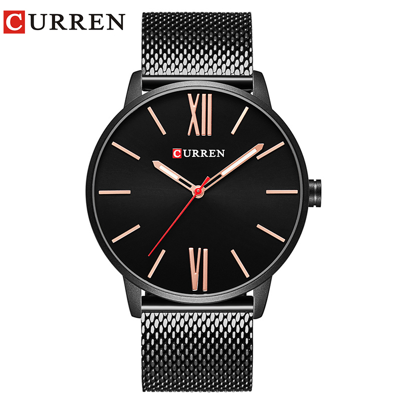 CURREN Brand 2017 tops Simple Minimalism luxury Quartz wrist Watches for men relogio masculino black / gold stainless steel 8238