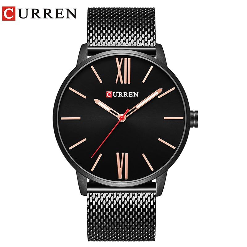 CURREN Marca 2017 tops Simple Minimalismo de lujo de Cuarzo Relojes de pulsera para hombres relogio masculino negro/oro de acero inoxidable 8238