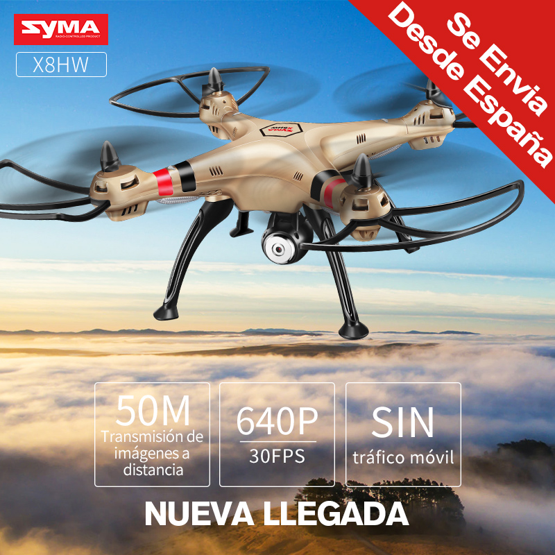 Syma Profesional X8HW Actualizado con Camara WIFI de 2MP HD en Tiempo Real modo sin cabeza Helicoptero con Funcion Cierne y volteo de 360grados Rc Drone 1080P quadcopter Resistente a Caidas Envios desde españa