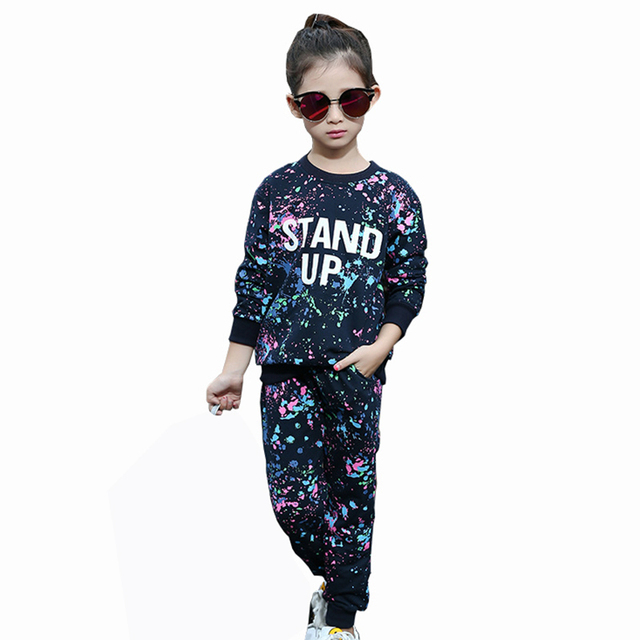2016 Autumn Winter Style Baby Girls Graffiti O-neck 2pcs/set Kids School Tracksuit Uniform Sport Suit Clothing Sets
