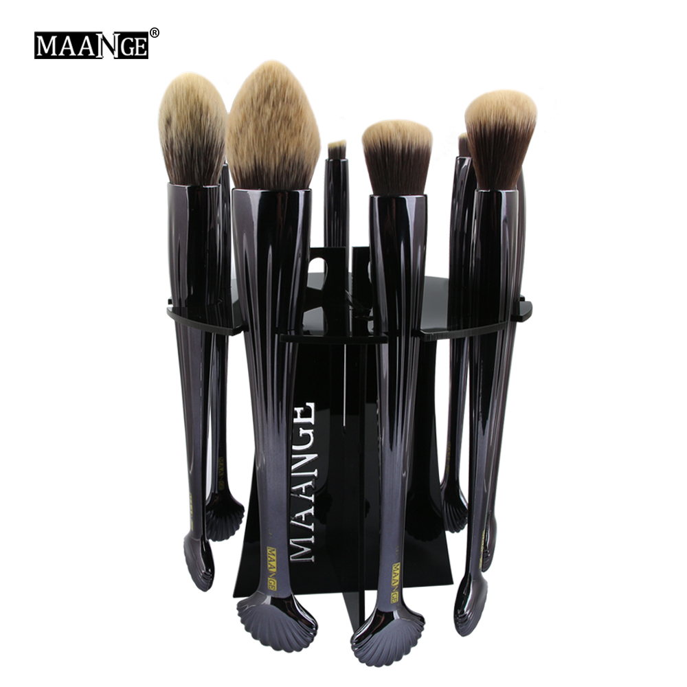 MAANGE 10 Holes Acrylic Shell Makeup Brushes Drying Rack Cosmetic Brush Shelf Pen Stand  ...